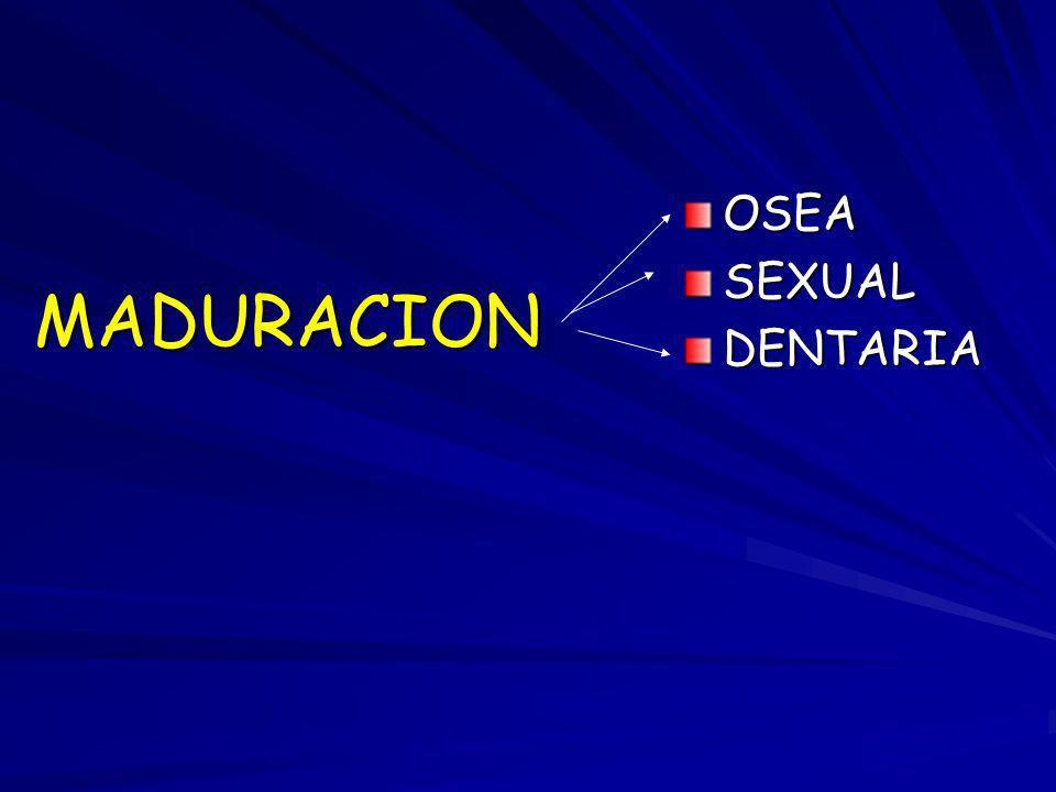 MADURACION OSEASEXUALDENTARIA