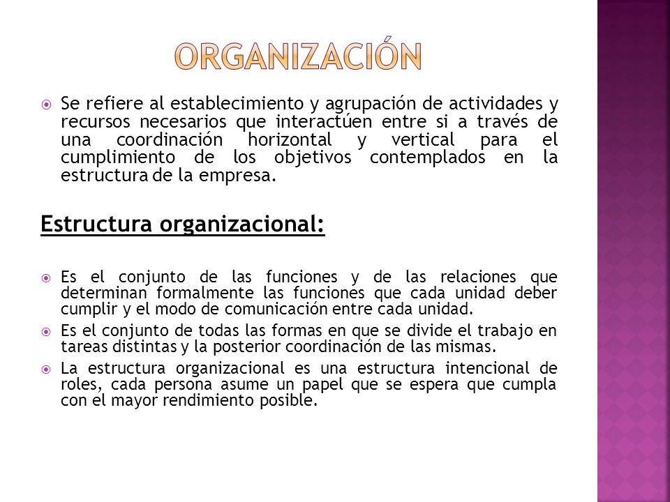 Se refiere al establecimiento y agrupación de actividades y recursos necesarios que interactúen entre si a través de una coordinación horizontal y ver