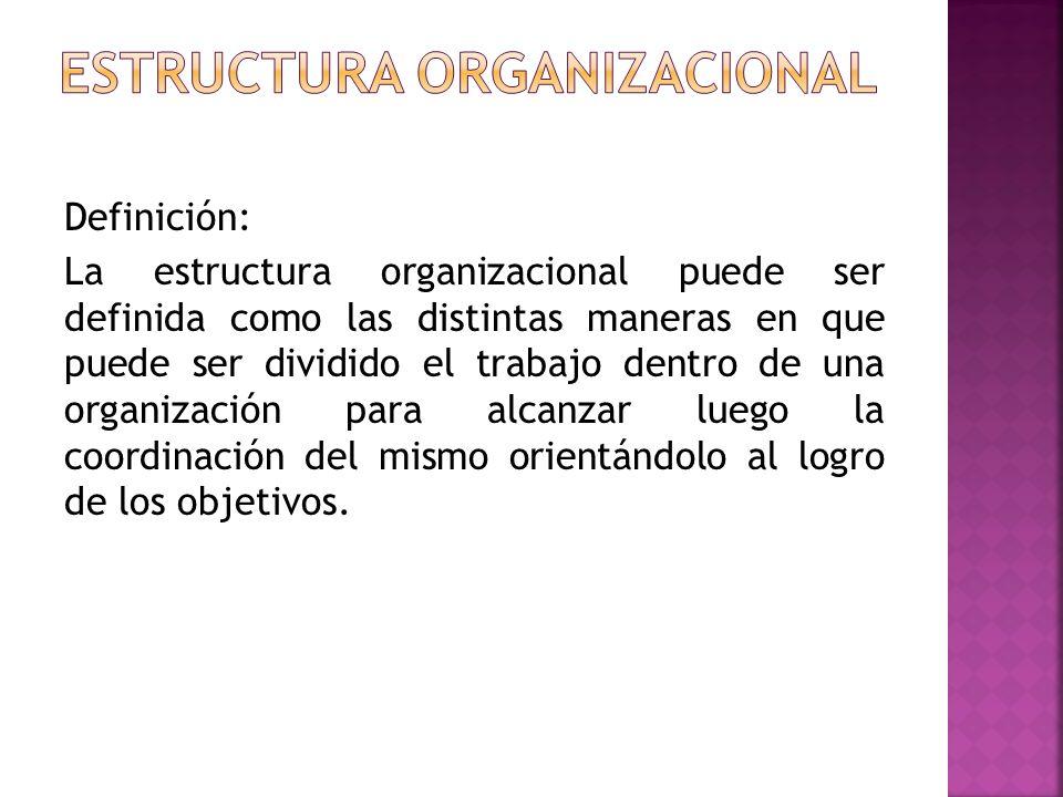 Definición: La estructura organizacional puede ser definida como las distintas maneras en que puede ser dividido el trabajo dentro de una organización