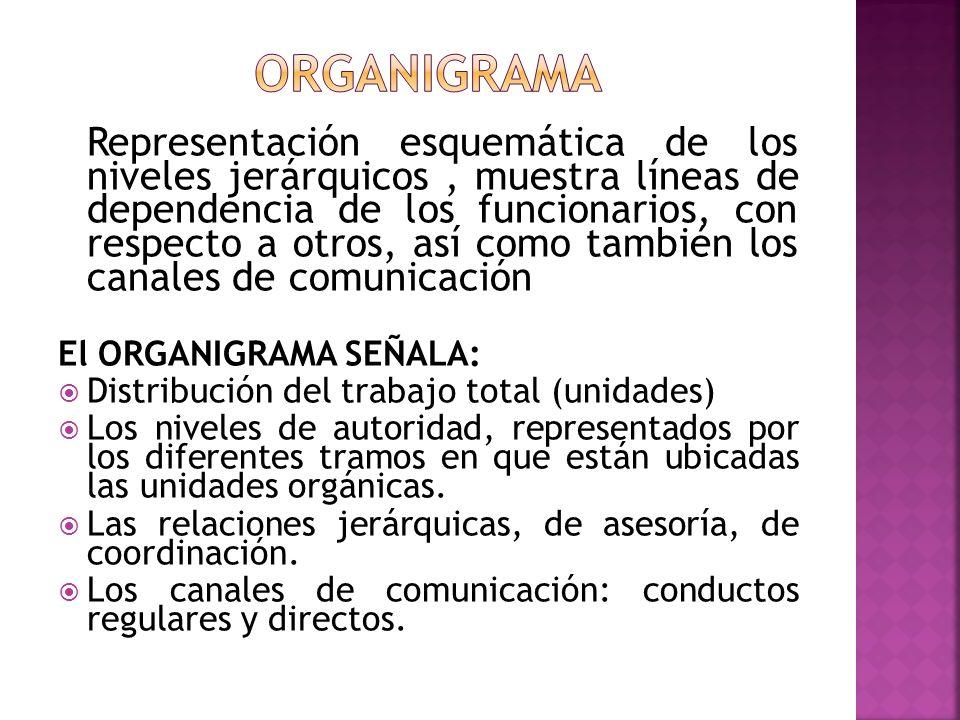 Representación esquemática de los niveles jerárquicos, muestra líneas de dependencia de los funcionarios, con respecto a otros, así como también los c