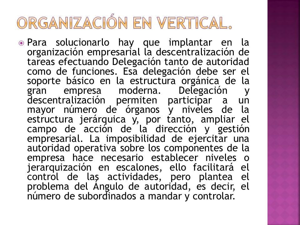 Para solucionarlo hay que implantar en la organización empresarial la descentralización de tareas efectuando Delegación tanto de autoridad como de fun