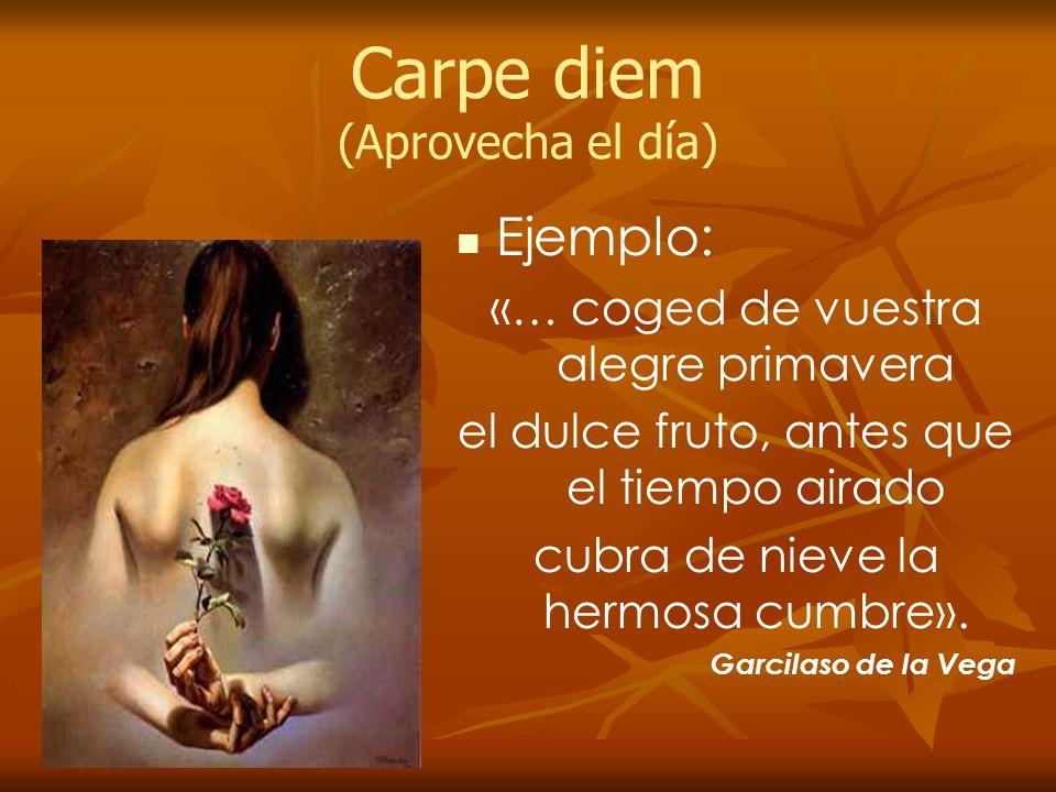 Carpe diem (Aprovecha el día) Ejemplo: «… coged de vuestra alegre primavera el dulce fruto, antes que el tiempo airado cubra de nieve la hermosa cumbr