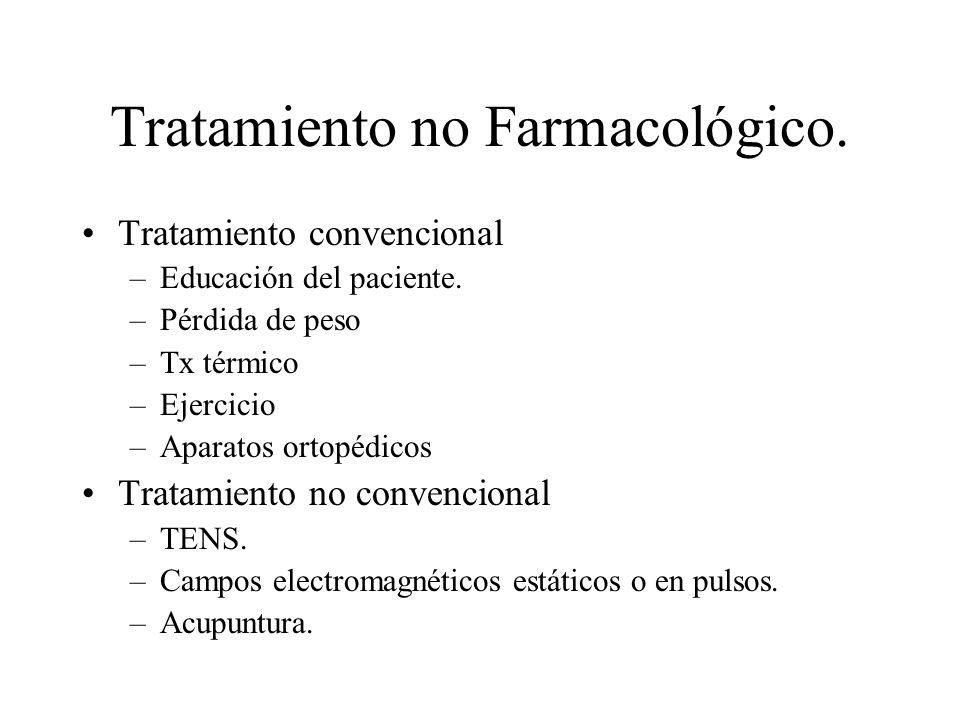 Tratamiento no Farmacológico. Tratamiento convencional –Educación del paciente. –Pérdida de peso –Tx térmico –Ejercicio –Aparatos ortopédicos Tratamie