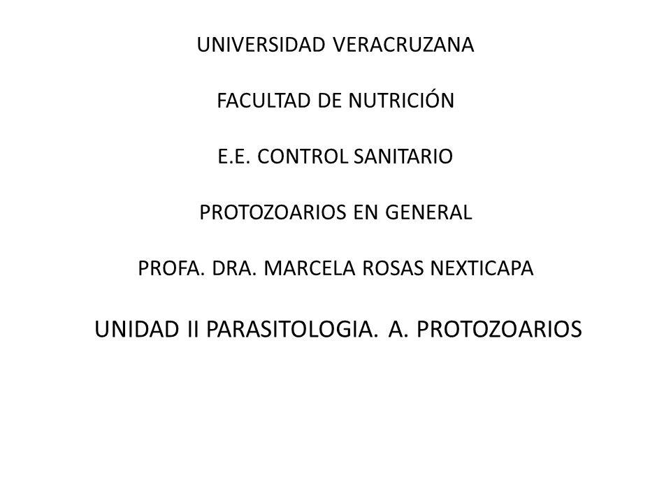 UNIVERSIDAD VERACRUZANA FACULTAD DE NUTRICIÓN E.E. CONTROL SANITARIO PROTOZOARIOS EN GENERAL PROFA. DRA. MARCELA ROSAS NEXTICAPA UNIDAD II PARASITOLOG