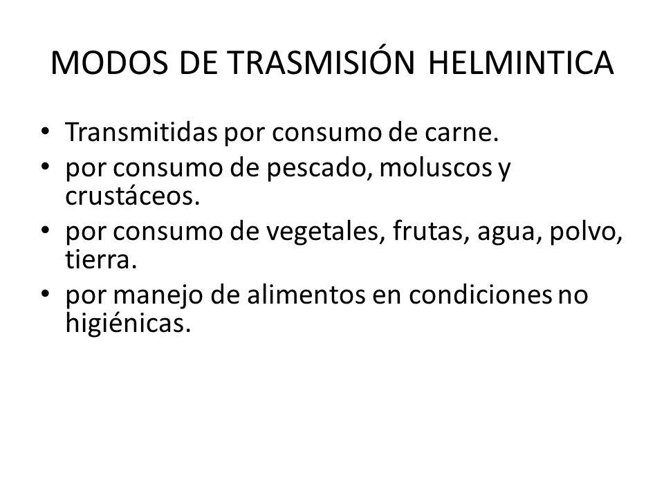 MODOS DE TRASMISIÓN HELMINTICA Transmitidas por consumo de carne. por consumo de pescado, moluscos y crustáceos. por consumo de vegetales, frutas, agu