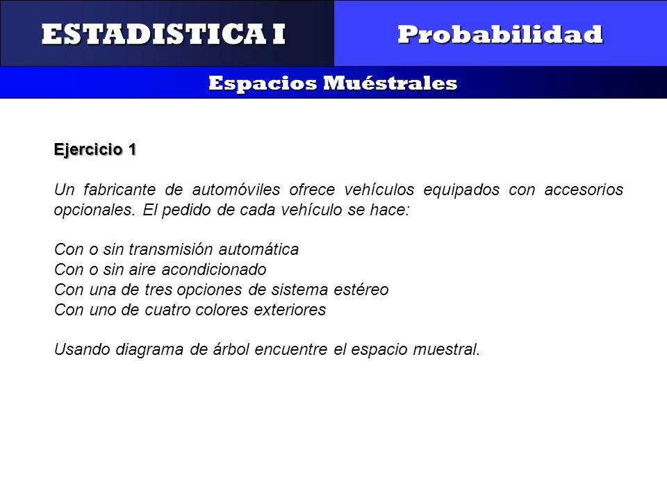 CONTROL Y GESTIÓN INTEGRAL DE LA CALIDAD Probabilidad Espacios Muéstrales ESTADISTICA I Ejercicio 1 Un fabricante de automóviles ofrece vehículos equi