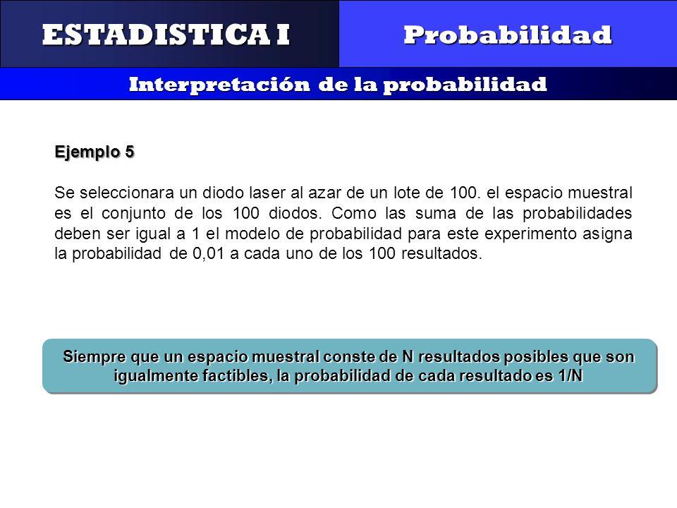 CONTROL Y GESTIÓN INTEGRAL DE LA CALIDAD Probabilidad Interpretación de la probabilidad ESTADISTICA I Ejemplo 5 Se seleccionara un diodo laser al azar