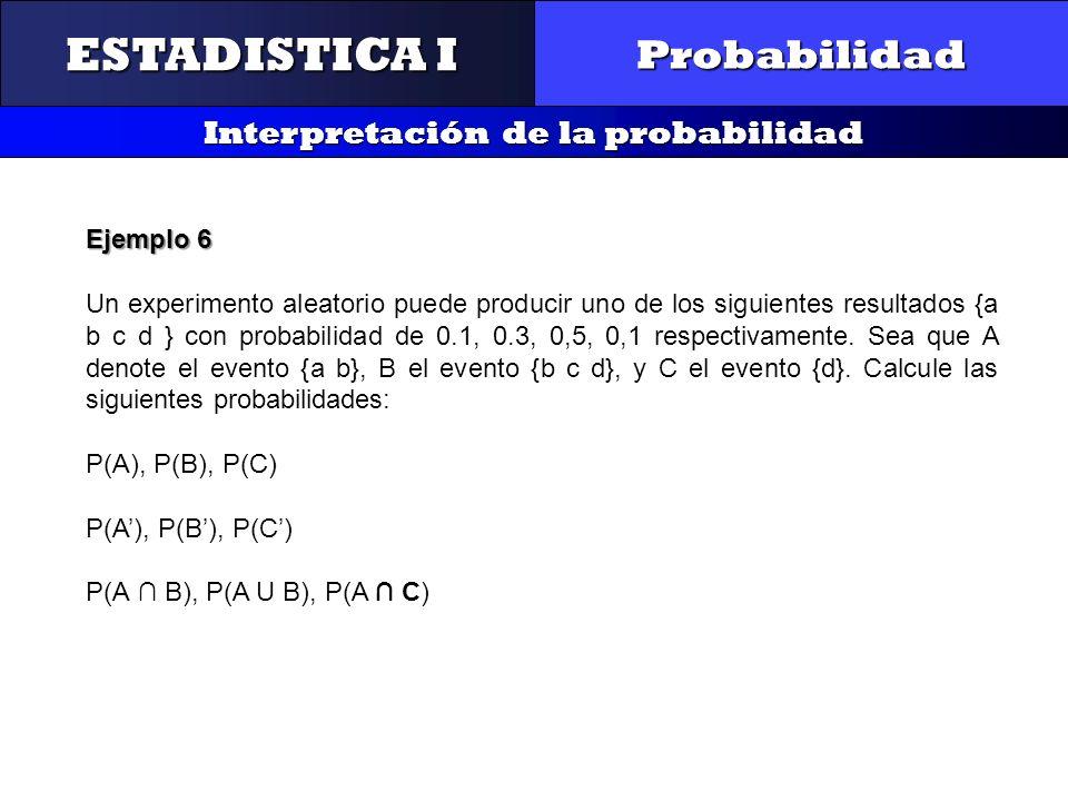 CONTROL Y GESTIÓN INTEGRAL DE LA CALIDAD Probabilidad Interpretación de la probabilidad ESTADISTICA I Ejemplo 6 Un experimento aleatorio puede produci