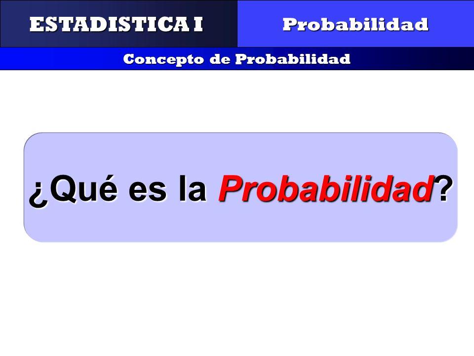 CONTROL Y GESTIÓN INTEGRAL DE LA CALIDAD Probabilidad Concepto de Probabilidad ¿Qué es la Probabilidad? ESTADISTICA I