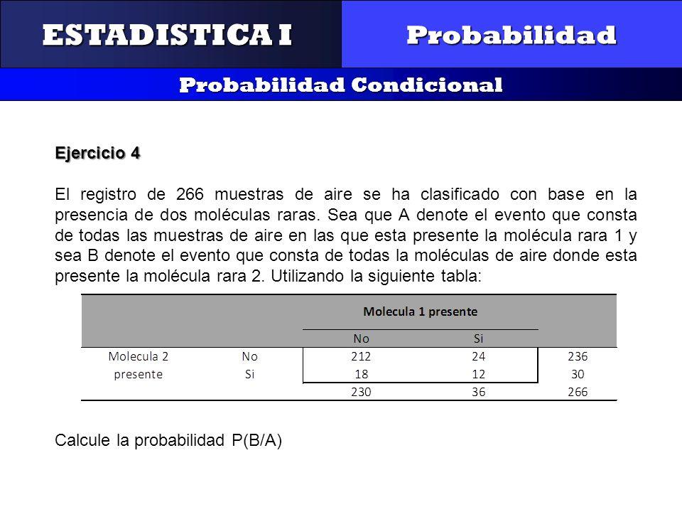 CONTROL Y GESTIÓN INTEGRAL DE LA CALIDAD Probabilidad Probabilidad Condicional ESTADISTICA I Ejercicio 4 El registro de 266 muestras de aire se ha cla