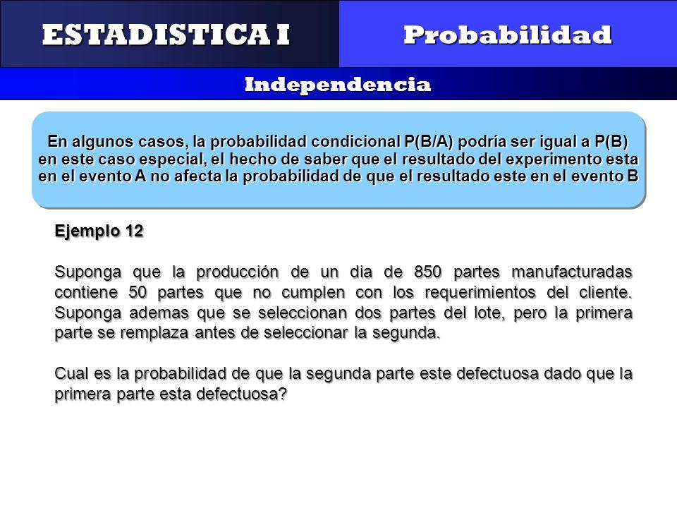 CONTROL Y GESTIÓN INTEGRAL DE LA CALIDAD Probabilidad Independencia ESTADISTICA I En algunos casos, la probabilidad condicional P(B/A) podría ser igua