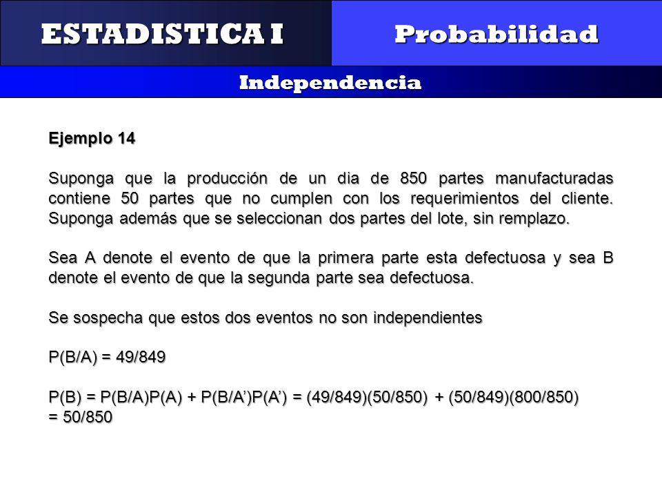 CONTROL Y GESTIÓN INTEGRAL DE LA CALIDAD Probabilidad Independencia ESTADISTICA I Ejemplo 14 Suponga que la producción de un dia de 850 partes manufac