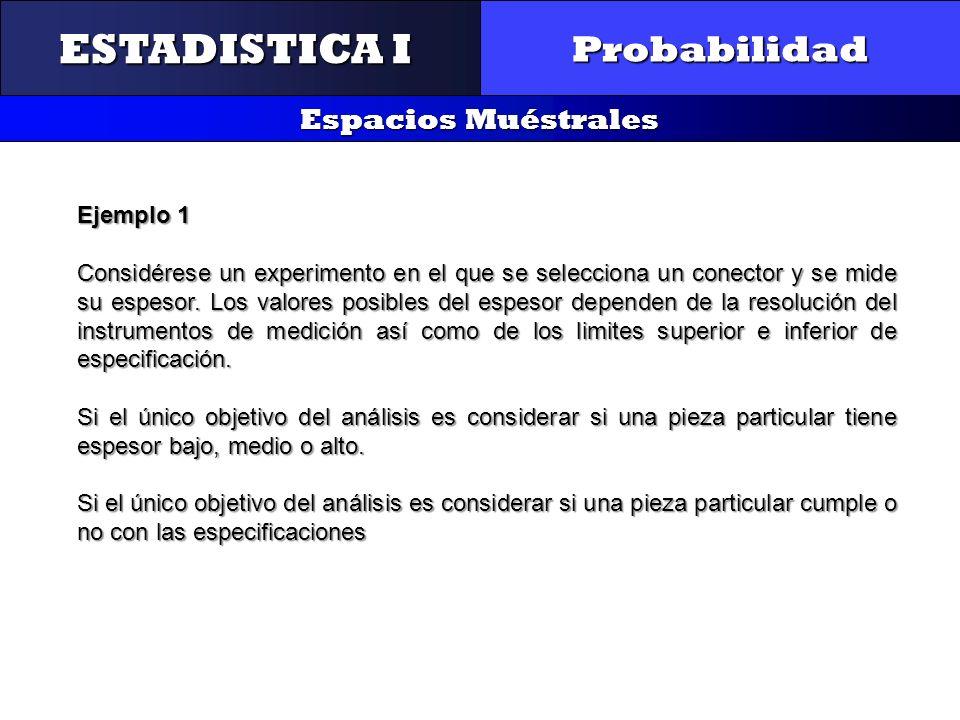 CONTROL Y GESTIÓN INTEGRAL DE LA CALIDAD Probabilidad Espacios Muéstrales ESTADISTICA I Ejemplo 1 Considérese un experimento en el que se selecciona u