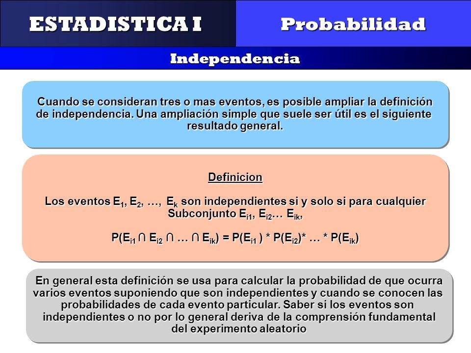 CONTROL Y GESTIÓN INTEGRAL DE LA CALIDAD Probabilidad Independencia ESTADISTICA I Cuando se consideran tres o mas eventos, es posible ampliar la defin