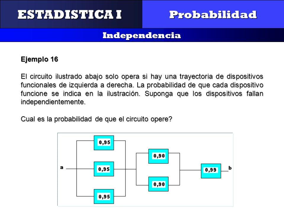 CONTROL Y GESTIÓN INTEGRAL DE LA CALIDAD Probabilidad Independencia ESTADISTICA I Ejemplo 16 El circuito ilustrado abajo solo opera si hay una trayect