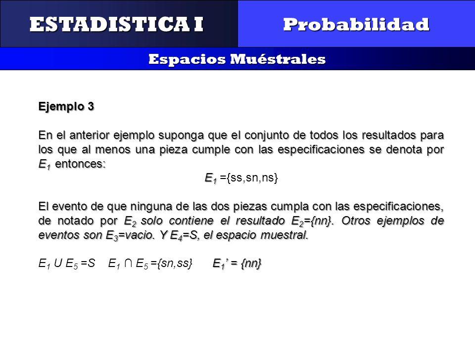 CONTROL Y GESTIÓN INTEGRAL DE LA CALIDAD Probabilidad Espacios Muéstrales ESTADISTICA I Ejemplo 3 En el anterior ejemplo suponga que el conjunto de to