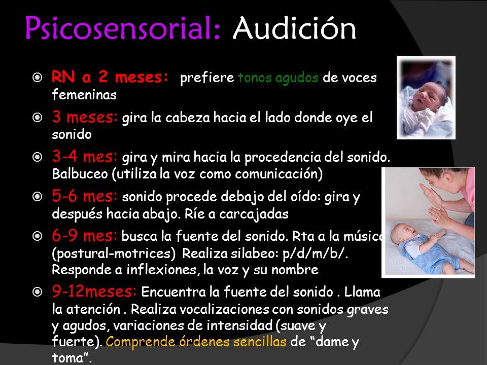 Psicosensorial: Audición RN a 2 meses: prefiere tonos agudos de voces femeninas 3 meses: gira la cabeza hacia el lado donde oye el sonido 3-4 mes: gir