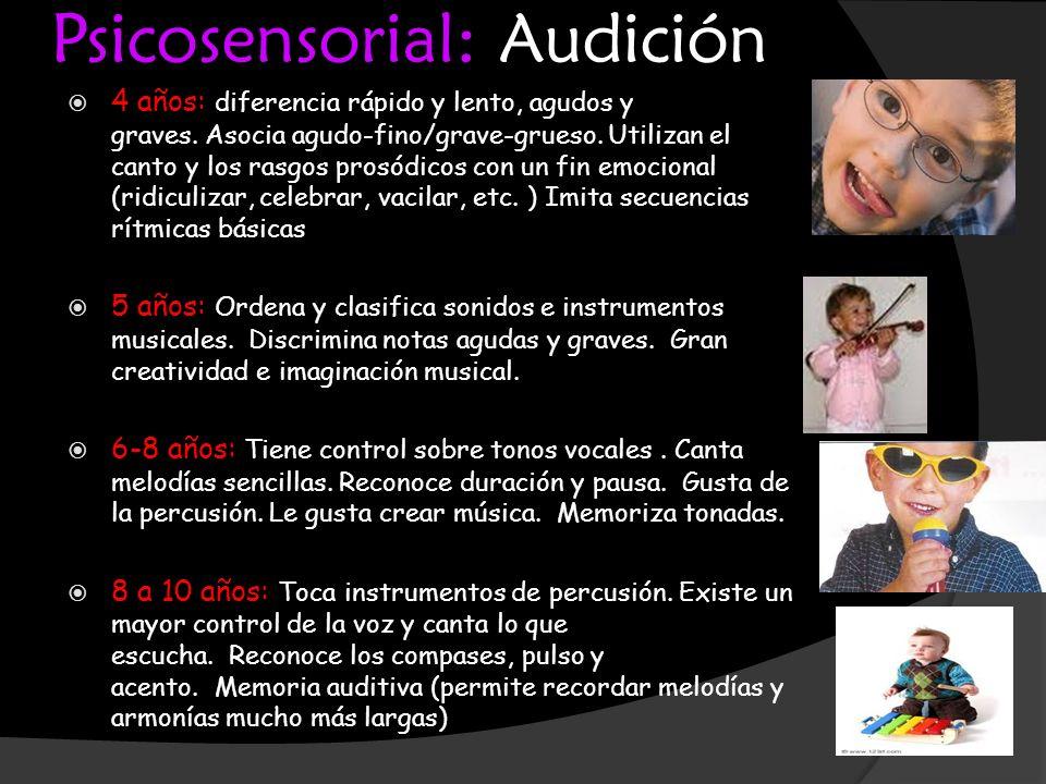 Psicosensorial: Audición 4 años: diferencia rápido y lento, agudos y graves. Asocia agudo-fino/grave-grueso. Utilizan el canto y los rasgos prosódicos