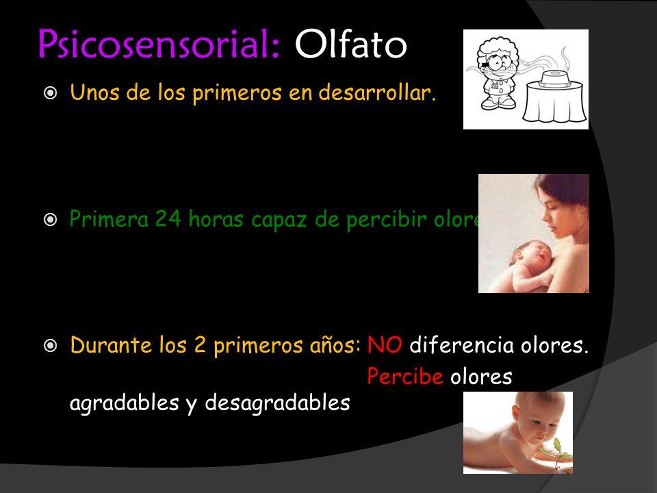 Psicosensorial: Olfato Unos de los primeros en desarrollar. Primera 24 horas capaz de percibir olores Durante los 2 primeros años: NO diferencia olore