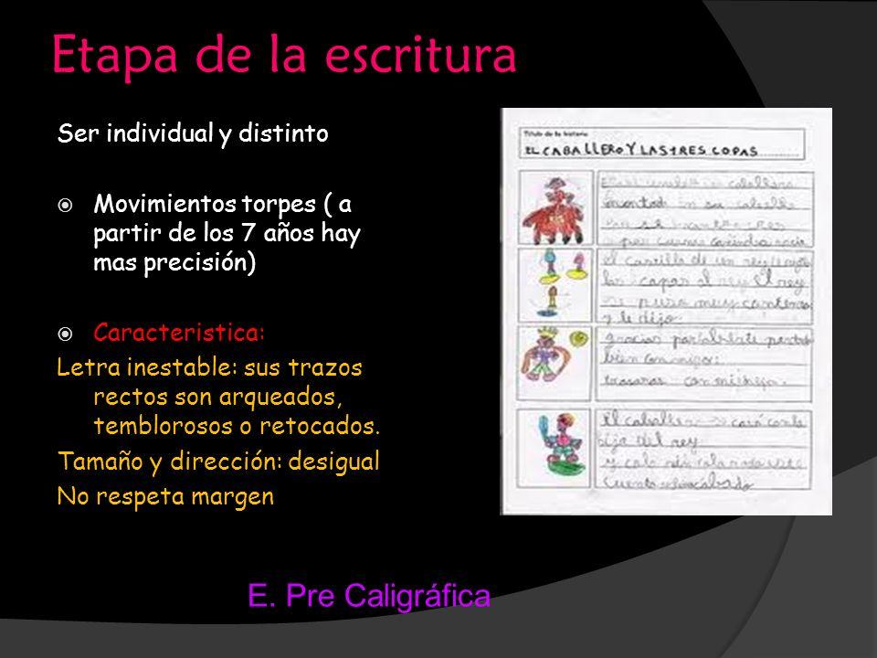 Etapa de la escritura Ser individual y distinto Movimientos torpes ( a partir de los 7 años hay mas precisión) Caracteristica: Letra inestable: sus tr