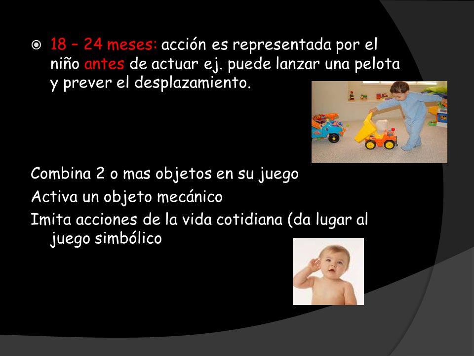 18 – 24 meses: acción es representada por el niño antes de actuar ej. puede lanzar una pelota y prever el desplazamiento. Combina 2 o mas objetos en s