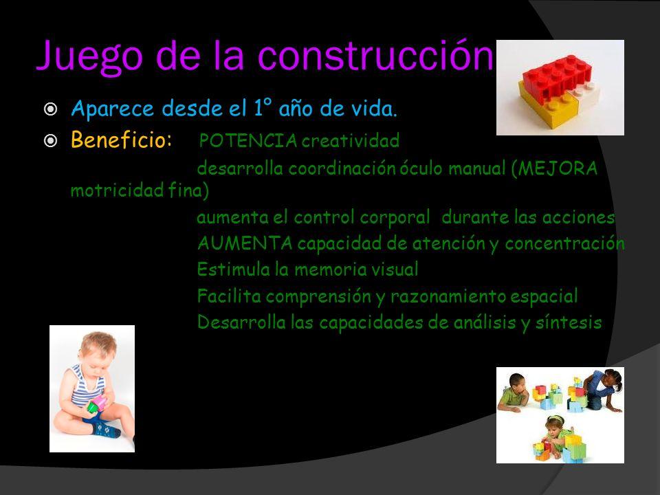 Juego de la construcción Aparece desde el 1° año de vida. Beneficio: POTENCIA creatividad desarrolla coordinación óculo manual (MEJORA motricidad fina