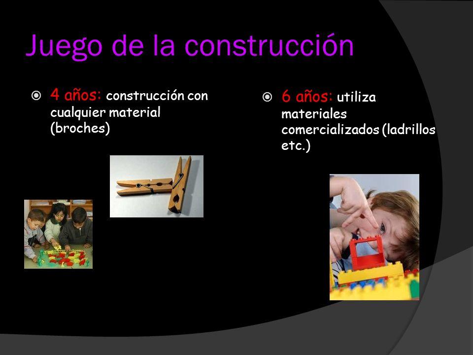 Juego de la construcción 4 años: construcción con cualquier material (broches) 6 años: utiliza materiales comercializados (ladrillos etc.)