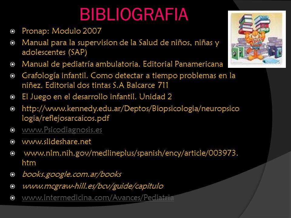 BIBLIOGRAFIA Pronap: Modulo 2007 Manual para la supervision de la Salud de niños, niñas y adolescentes (SAP) Manual de pediatría ambulatoria. Editoria