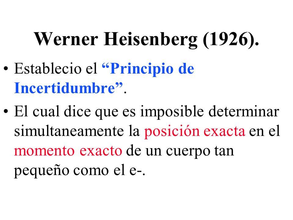 Werner Heisenberg (1926). Establecio el Principio de Incertidumbre. El cual dice que es imposible determinar simultaneamente la posición exacta en el