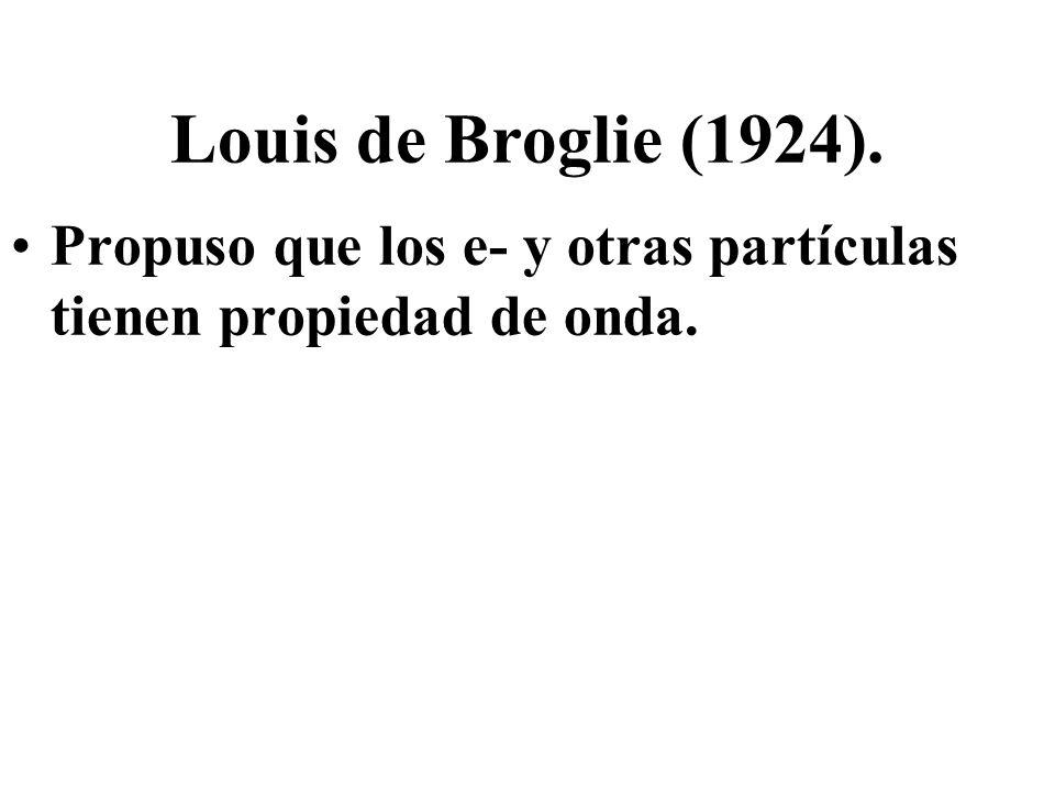 Louis de Broglie (1924). Propuso que los e- y otras partículas tienen propiedad de onda.