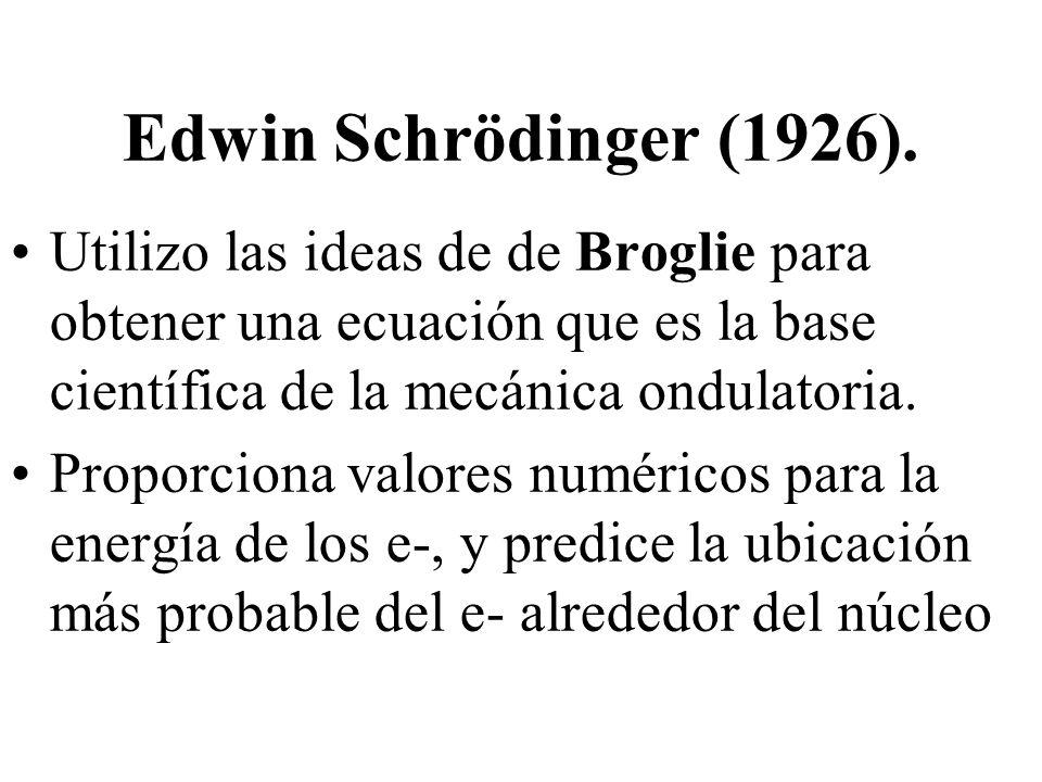 Edwin Schrödinger (1926). Utilizo las ideas de de Broglie para obtener una ecuación que es la base científica de la mecánica ondulatoria. Proporciona
