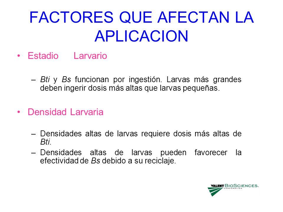 FACTORES QUE AFECTAN LA APLICACION Estadio Larvario –Bti y Bs funcionan por ingestión. Larvas más grandes deben ingerir dosis más altas que larvas peq
