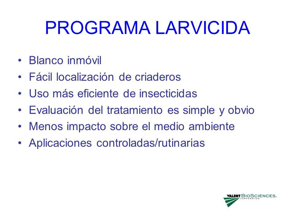 PROGRAMA LARVICIDA Blanco inmóvil Fácil localización de criaderos Uso más eficiente de insecticidas Evaluación del tratamiento es simple y obvio Menos