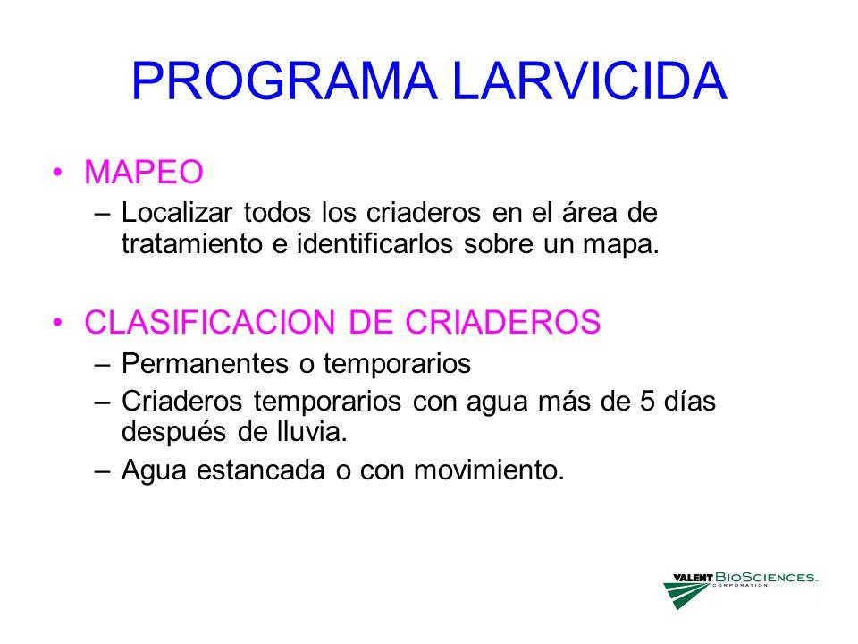 PROGRAMA LARVICIDA MAPEO –Localizar todos los criaderos en el área de tratamiento e identificarlos sobre un mapa. CLASIFICACION DE CRIADEROS –Permanen