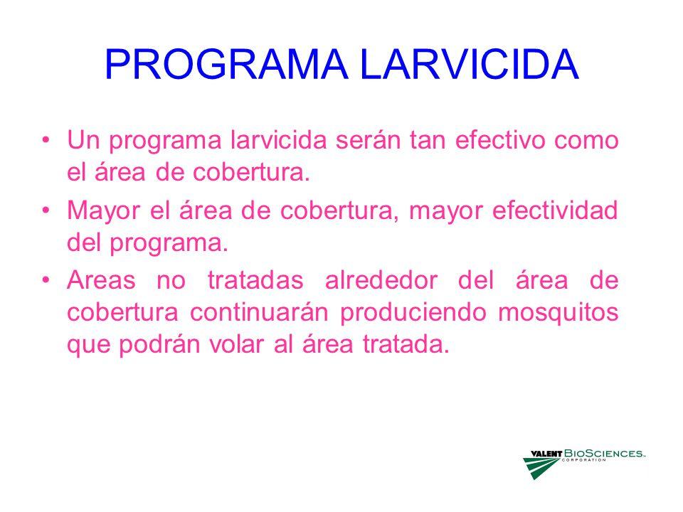 PROGRAMA LARVICIDA Un programa larvicida serán tan efectivo como el área de cobertura. Mayor el área de cobertura, mayor efectividad del programa. Are