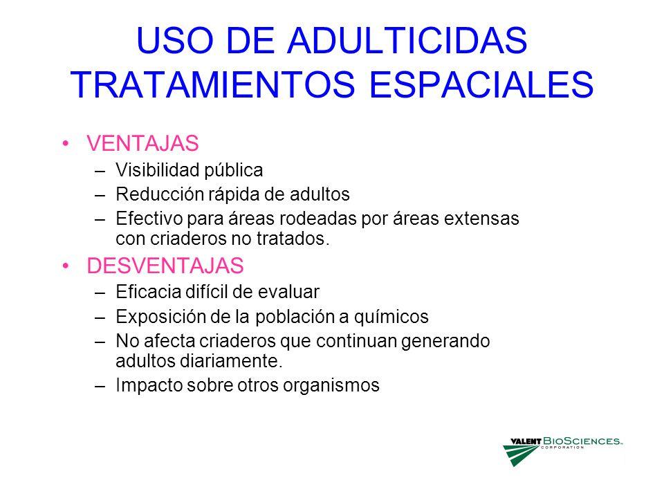 USO DE ADULTICIDAS TRATAMIENTOS ESPACIALES VENTAJAS –Visibilidad pública –Reducción rápida de adultos –Efectivo para áreas rodeadas por áreas extensas