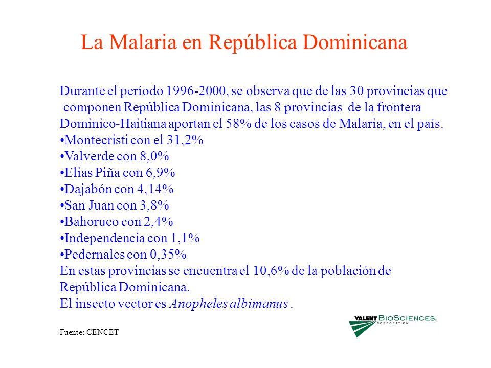 La Malaria en República Dominicana Durante el período 1996-2000, se observa que de las 30 provincias que componen República Dominicana, las 8 provinci