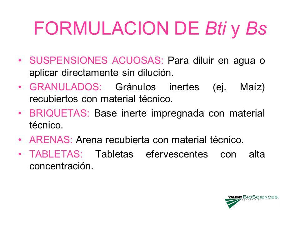 FORMULACION DE Bti y Bs SUSPENSIONES ACUOSAS: Para diluir en agua o aplicar directamente sin dilución. GRANULADOS: Gránulos inertes (ej. Maíz) recubie