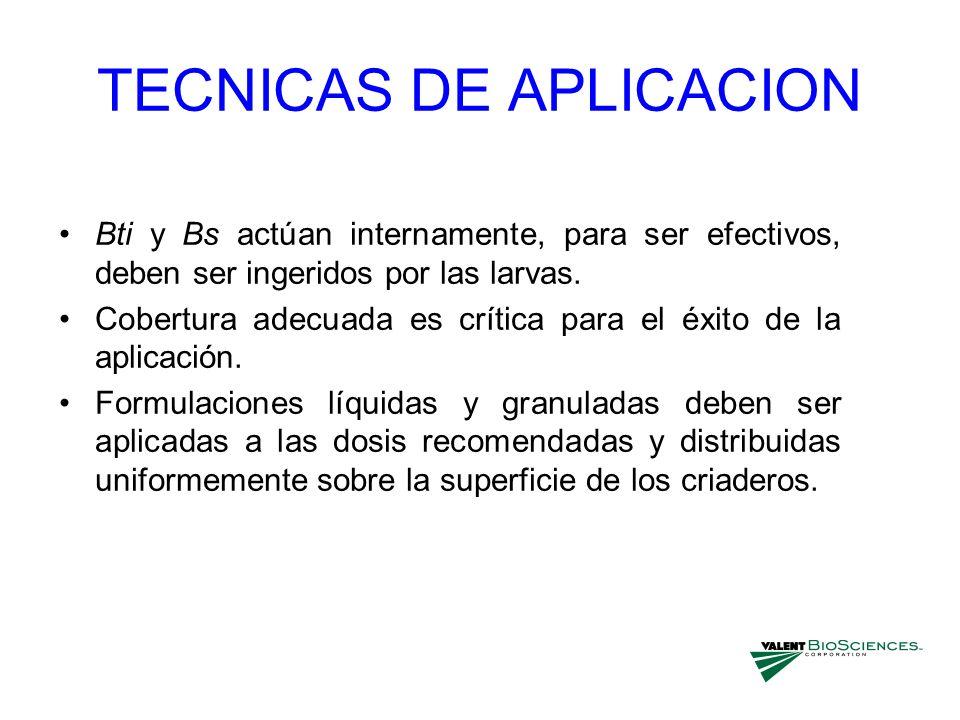 TECNICAS DE APLICACION Bti y Bs actúan internamente, para ser efectivos, deben ser ingeridos por las larvas. Cobertura adecuada es crítica para el éxi