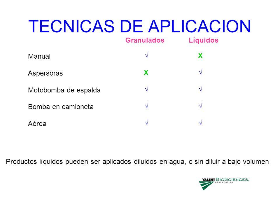 TECNICAS DE APLICACION Manual Aspersoras Motobomba de espalda Bomba en camioneta Aérea X X GranuladosLíquidos Productos líquidos pueden ser aplicados