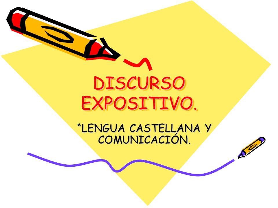 DISCURSO EXPOSITIVO. LENGUA CASTELLANA Y COMUNICACIÓN.