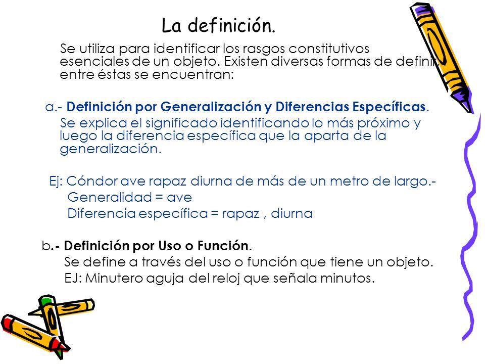 FORMAS BÁSICAS. El discurso expositivo utiliza cinco formas básicas para entregar y exponer el contenido de su exposición. Se definen como unidades o
