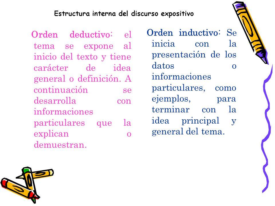 Estructura del texto expositivo. Presenta una organización de tipo progresiva en la presentación de los conceptos, generalmente, usando cada párrafo p