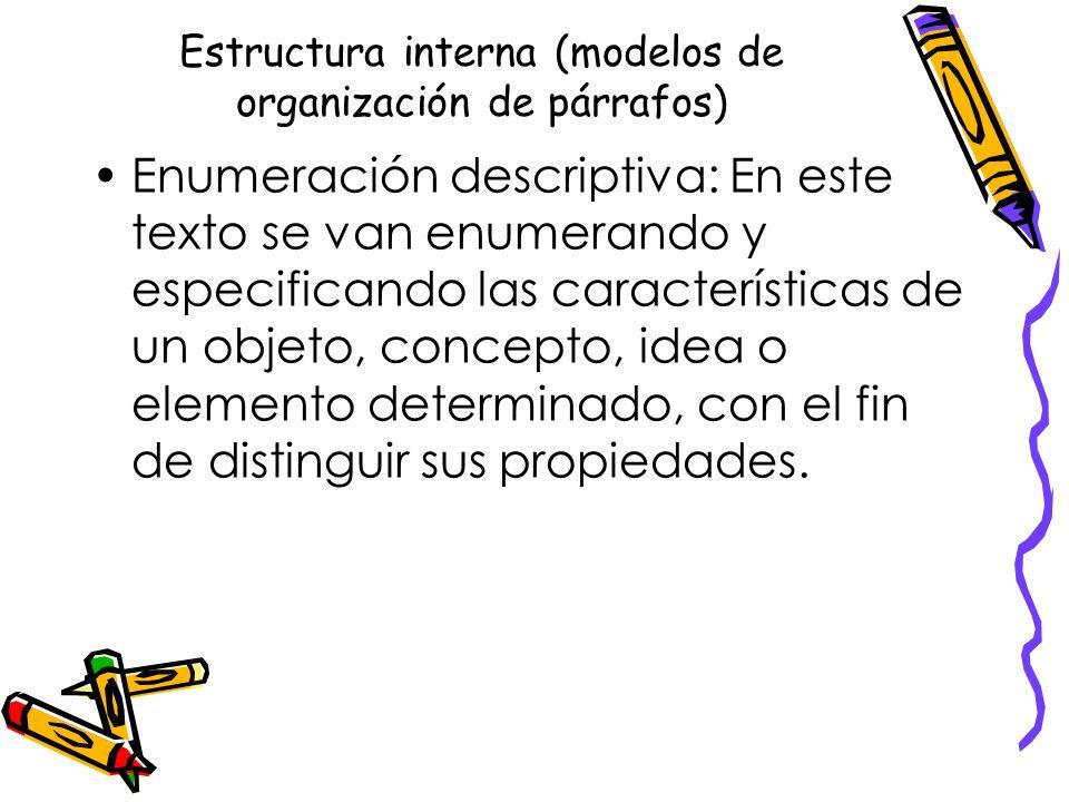 Estructura interna (modelos de organización de párrafos) Enumeración descriptiva: En este texto se van enumerando y especificando las características de un objeto, concepto, idea o elemento determinado, con el fin de distinguir sus propiedades.