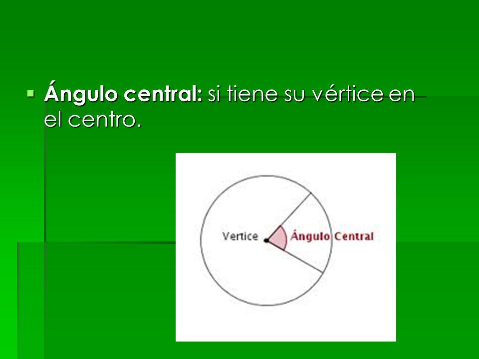 Ángulo central: si tiene su vértice en el centro. Ángulo central: si tiene su vértice en el centro.