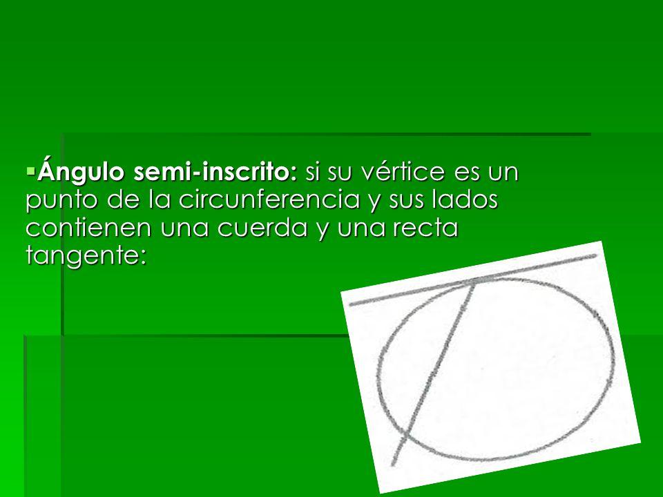 Ángulo semi-inscrito: si su vértice es un punto de la circunferencia y sus lados contienen una cuerda y una recta tangente: Ángulo semi-inscrito: si s