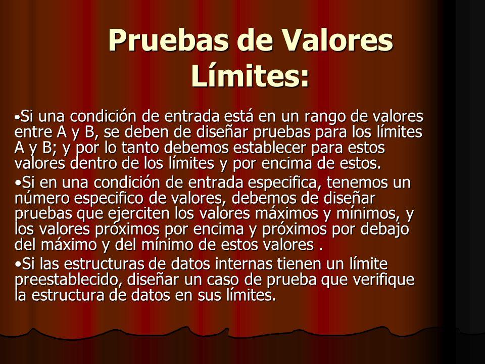 Pruebas de Valores Límites: Si una condición de entrada está en un rango de valores entre A y B, se deben de diseñar pruebas para los límites A y B; y