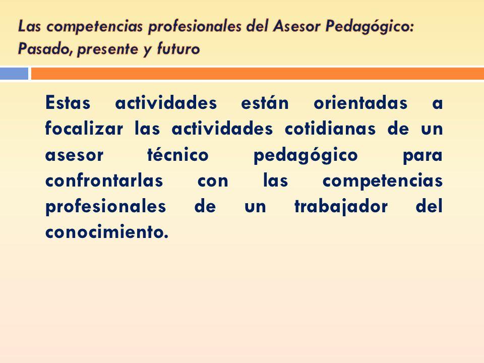 Estas actividades están orientadas a focalizar las actividades cotidianas de un asesor técnico pedagógico para confrontarlas con las competencias prof