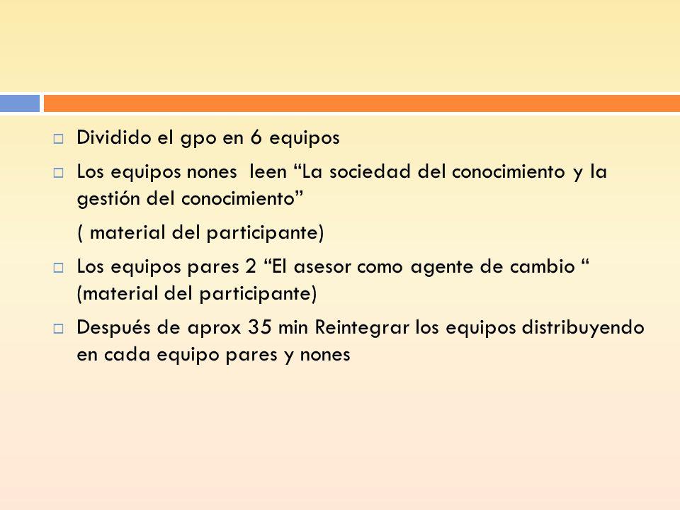 Dividido el gpo en 6 equipos Los equipos nones leen La sociedad del conocimiento y la gestión del conocimiento ( material del participante) Los equipo