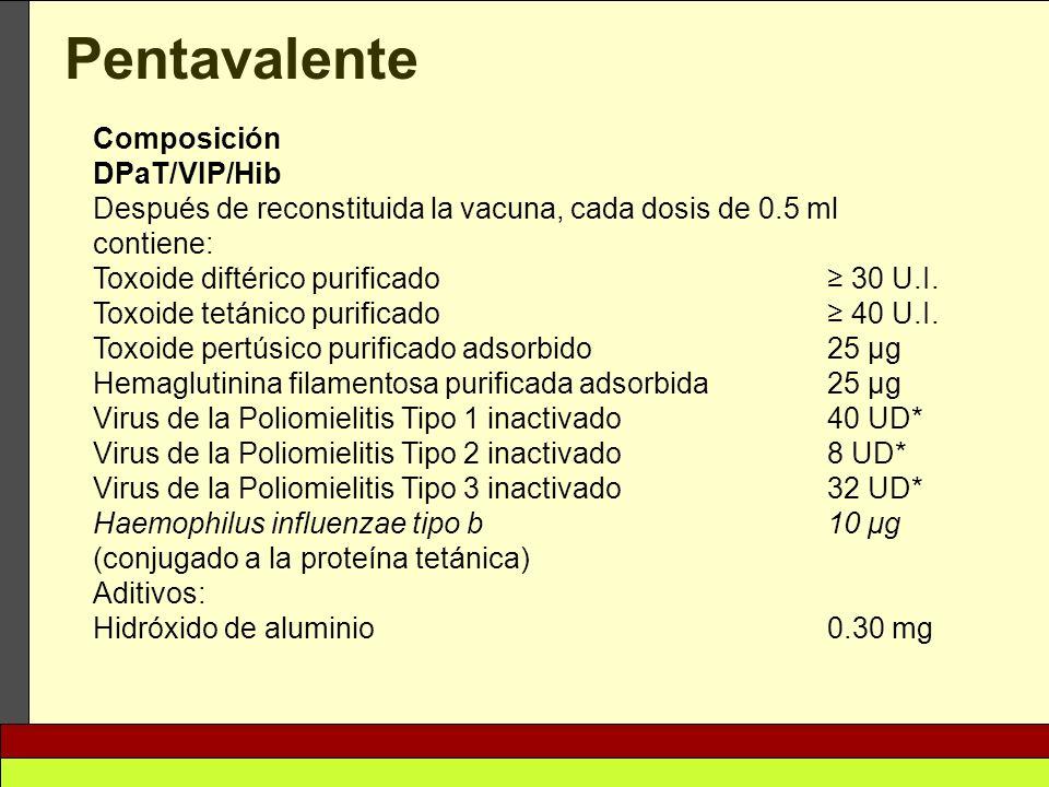 Pentavalente Composición DPaT/VIP/Hib Después de reconstituida la vacuna, cada dosis de 0.5 ml contiene: Toxoide diftérico purificado 30 U.I. Toxoide